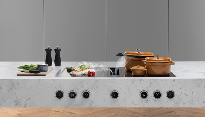 The Bora Professional 3.0 modular system offers a choice of cooktops with a 54cm depth, which can be freely combined with the extraction system