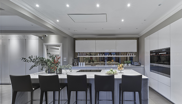 This kitchen design by Grid Thirteen shows Westin's Stratus Air, which come in 880mm or 1180mm widths and has a maximum extraction rate of 880m³/h